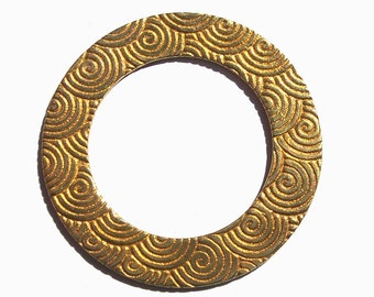 Brass Donut Washer Blank 38mm 20G Spiral Pattern for Metalworking Supplies, Enameling Blank - 2 Pieces