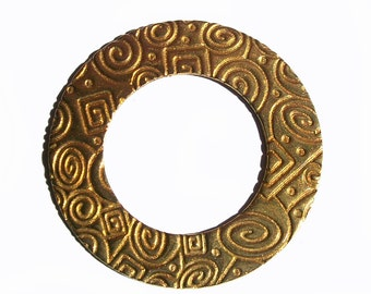 Pure Brass Donut Washer 40mm 20G in Texture, Metalworking Supplies, Enameling Blank - 2 Pieces