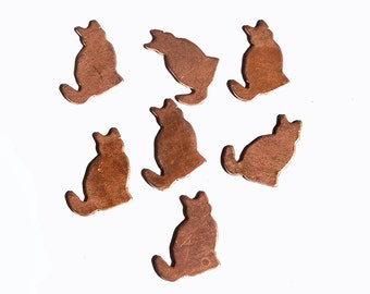 Copper Cats Blank 20mm x 15mm for Enameling Stamping Texturing Blanks - 5 pieces