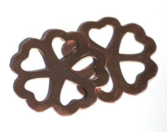 Copper Blank Flower 43mm with Heart Shape Center Cutout for Blanks Enameling Stamping Texturing