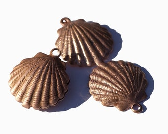 100% Copper Sea Shell Blank Pair Very Realistic 3D Sea Shells Enameling Jewelry Blanks - 2 pieces