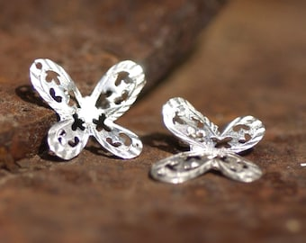 Pierced Sterling Silver Butterfly Dangle Pair - Possible Earring Pieces Fine Work