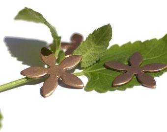 Copper 26mm Blank Flower 5 Petal Flower for Enameling Stamping Texturing Soldering Blanks Shape