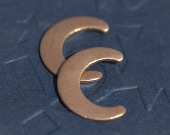Copper Moon Stamping 19mm x 15mm for Blanks Enameling Stamping Texturing Soldering - 4 pieces