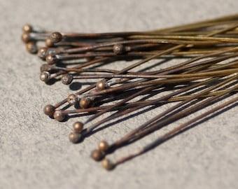 Handmade Brass Ball Headpins 26 gauge - 3 inches long - 50 pieces