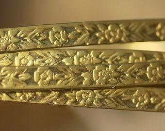 Brass Ring Stock Shank 7mm Flowers Pattern Heavy Textured Metal Wire - Rings Bracelets Pendants Metalwork