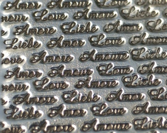 Nickel Silver LOVE Texture Metal Sheet Pattern 22g - 3 x 2 1/4 inches - Bracelets Pendants Metalwork