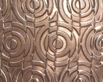 Copper Texture Metal Sheet Geometric Shift Pattern 24g - 3 x 2 1/2 inches - Bracelets Pendants Metalwork Blanks
