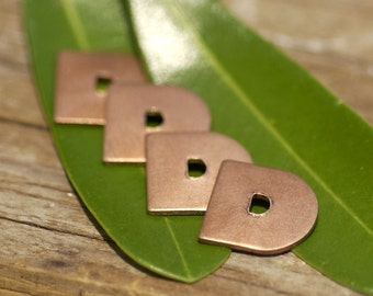 Letter D Alphabet Copper Blank Shape for Texturing Soldering Enameling Stamping - 4 pieces