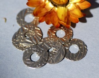 Leaves Texture Nickel Silver 24g - Lampwork Beadcaps Possibly - Donut Washer 14mm - 6 pieces