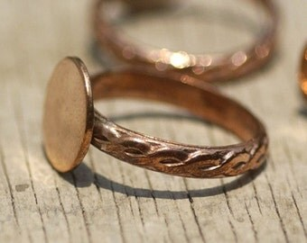 Copper Braided Ring Round Glue Pad for Gluing - Size7
