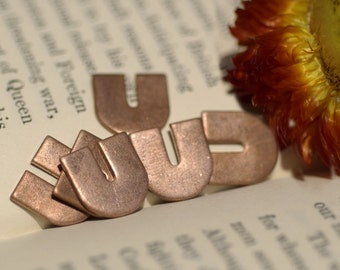 Copper Letter U Alphabet Blank Shape for Texturing Soldering Enameling Metalworking Blanks