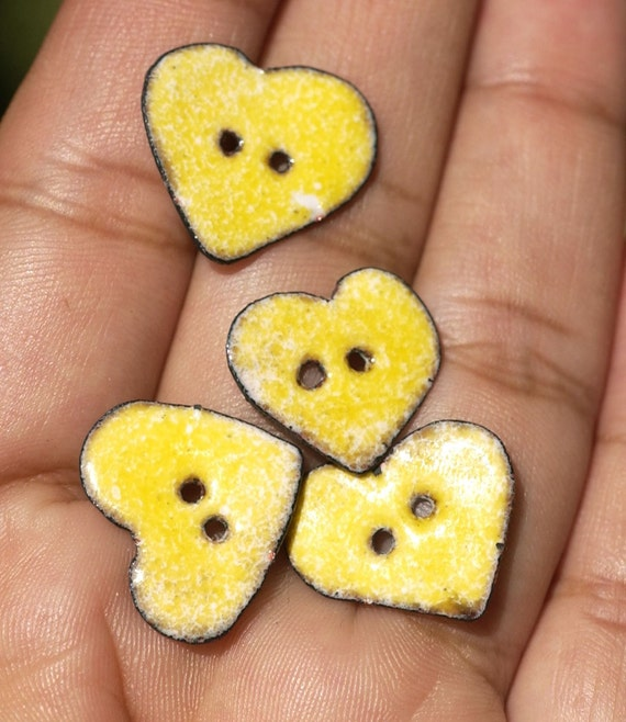 Vitreous Enamel Buttons Yellow Hearts Copper Handmade Buttons Finding for Your Clothing - Knitted Goods