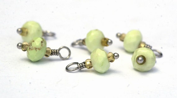 Faceted Apple Chrysophase Rondelle Handmade Wirewrapped Beaded Dangle Drop for Your Own Designs Charms Jewelry Components