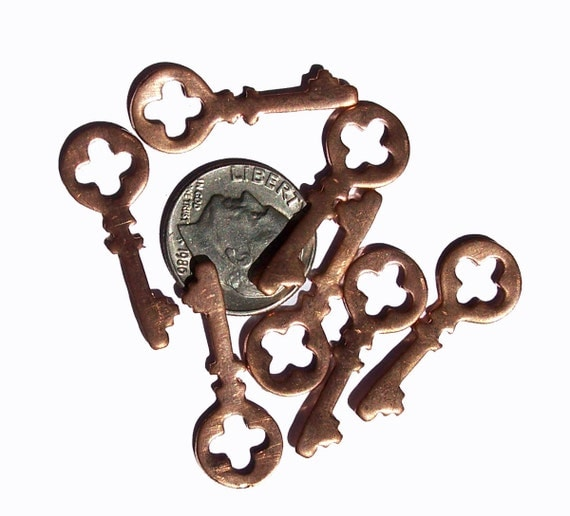 Copper Open my Castle Mini Key  Blank Cutout for Enameling Stamping Texturing Metalworking Blanks