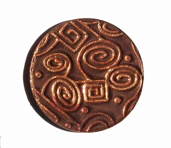 Copper Disc 20mm 20g Doodles Polished Textured Blanks Shape