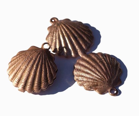 100% Copper Sea Shell Blank Pair Very Realistic 3D Sea Shells Enameling Jewelry Blanks