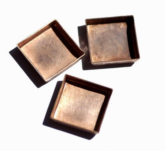 100% Copper Bezel Cups 24g 23.5mm Square Blanks Cutout for Enameling