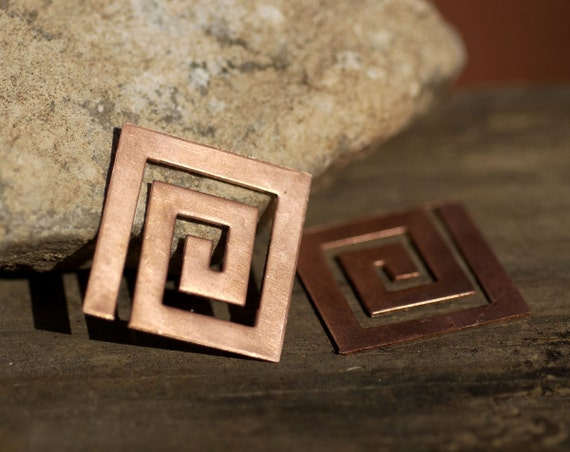 Copper Maze Blank 28mm Metal Cutout for Enameling Stamping Texturing