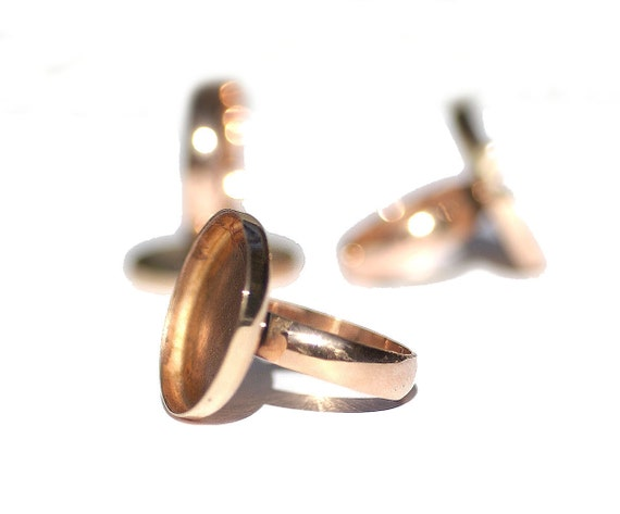 Copper Bezel Cup Ring for Resin Gluing or Setting - Size 6 3/4
