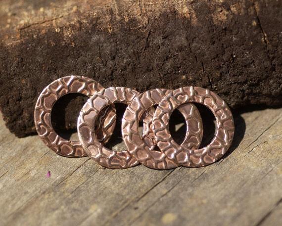 Copper Donut 20mm Snakeskin Pattern Washer Polished Textured Blanks Shape for Enameling Metalworking Blanks
