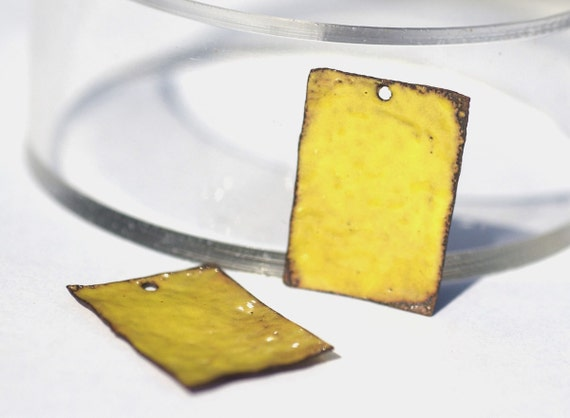 Vitreous Enameled Pair of Yellow Copper Hammered Pieces for Earrings or Pendants