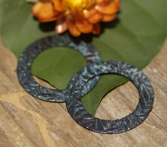 Patina Verdigris Blank Copper Shapes Fall Leaves Washer Donut Round Blanks Disc Pair