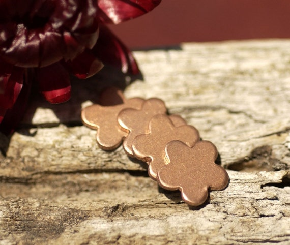 Copper Flower Blank Tiny Shape 5 Petal 9mm 20g for Enameling Stamping Texturing Soldering Blanks