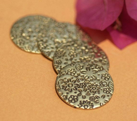 Brass Disc Blank 18g 24mm Meadow of Flowers Pattern Polished Textured Blanks Shape