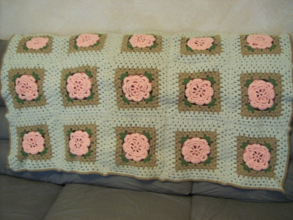 Vintage Crochet Granny Square Afghan, 1980's, with Peach flowered centers, OOAK design