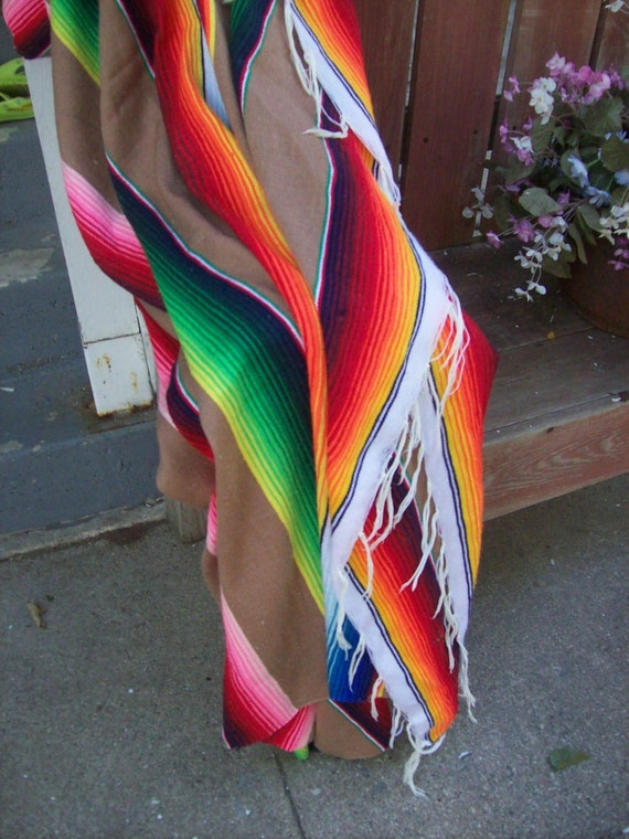 reserved for amyeller...Vtg Mexican Wool Blanket, Serape w/fringe, Vivid colors, Very Nice