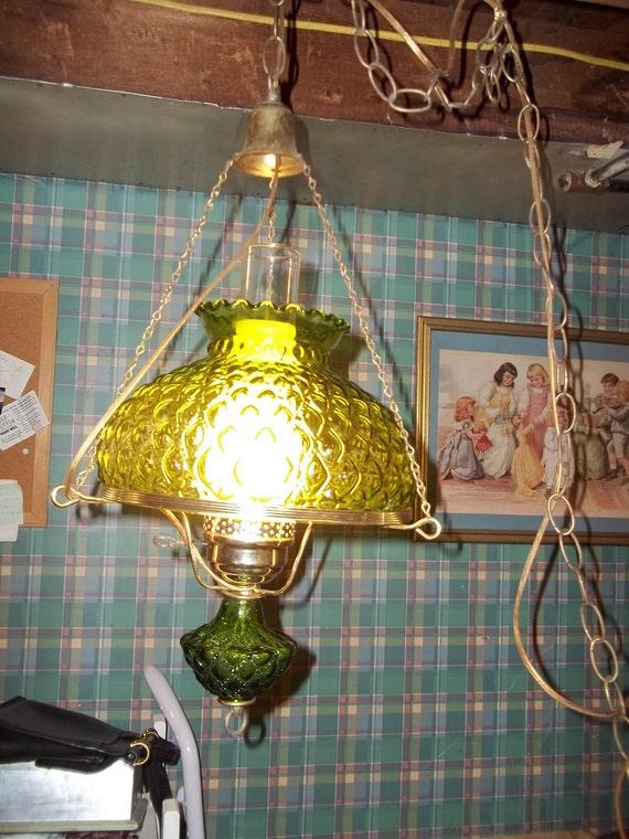 Vtg 1970s Green Swag Lamp