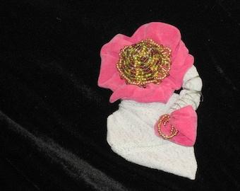 Handmade Flower Brooch - Hot Pink beaded brooch