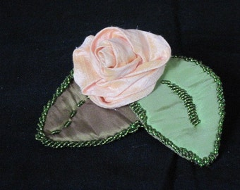 Handmade Brooch - Just Peachy Rolled Dupioni silk rose with two beaded leaves
