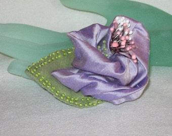 Handmade Brooch -  Beaded Lavender Silk Rolled Rosebud