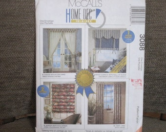 McCall's 3088, Sewing Pattern for Window Treatments