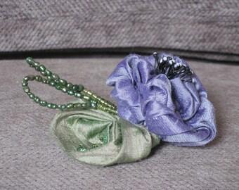 Handmade Flower Brooch - Blue Violet Rolled Rose with pale green leaf - dupioni silk
