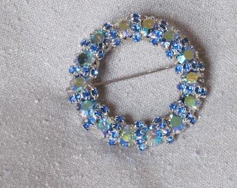 Vintage Rhinestone Brooch - Blue  Aurora Borealis Crystal  Designer Style Fancy Circle Pin