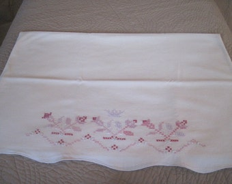 Vintage Embroidered Pillowcase - White Cotton with Cross Stitch Flowers in Shades of Pink