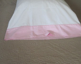 Vintage White Cotton Pillowcase with Pink Banded Edge