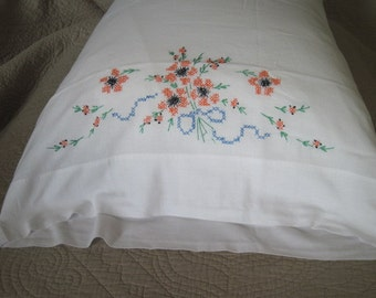 Vintage Pillowcase Embroidered with Orange Poppies