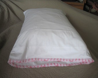 Vintage White Cotton Pillowcase with Pink Veriagated Crochet Edging
