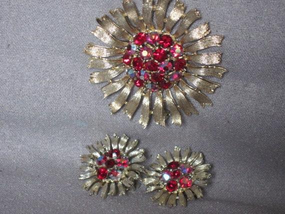 Vintage Rhinestone  Brooch and Earrings demi parure by Lisner, Red rhinestones and AB rhinestones