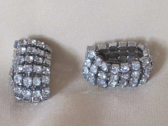 Vintage Rhinestone Earrings -  Crystal Clear Wrap Around Clip On Earrings