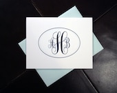Traditional Monogram Stationery Set - 10 personalized notecards from K. Batty