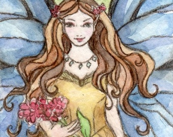 ACEO-Summer Fairy-Original Painting