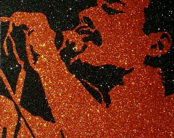Freddie Mercury of Queen Inspired 80s Classic Rock Glitter Art