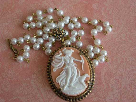 Diana The Huntress Cameo and Pearl Pendant