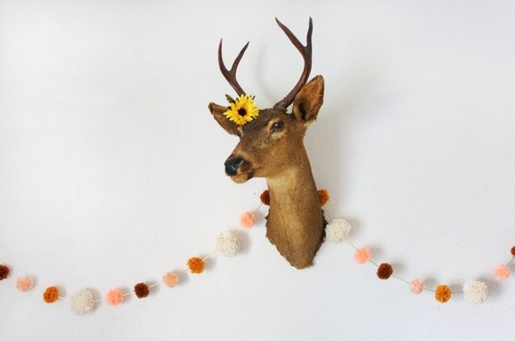 Peachy Yarn Pom Pom Garland