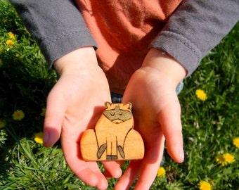 wooden raccoon toy, raccoon waldorf toy, wood toy animals, waldorf animal toys, raccoon figurine
